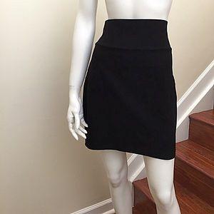 Eileen Fisher Black Stretch Crepe Fold Over Skirt